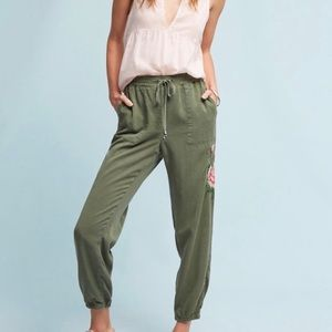 Anthro rose embroidered green jogger large